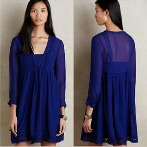 Anthropologie Vanessa Virginia Blue Boho Dress, 8